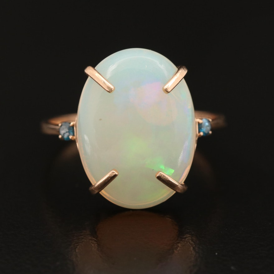 14K Oval Opal Cabochon Ring with Diamond Accents