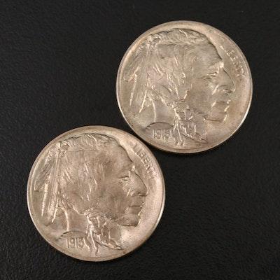 1913 Type I and II Uncirculated Buffalo Nickels