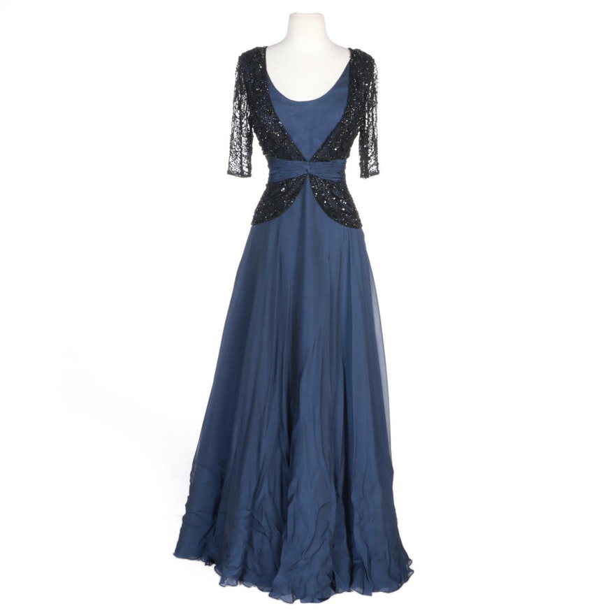 Alberto Makali Blue Silk Blend Evening Gown with Black Beaded Overlay