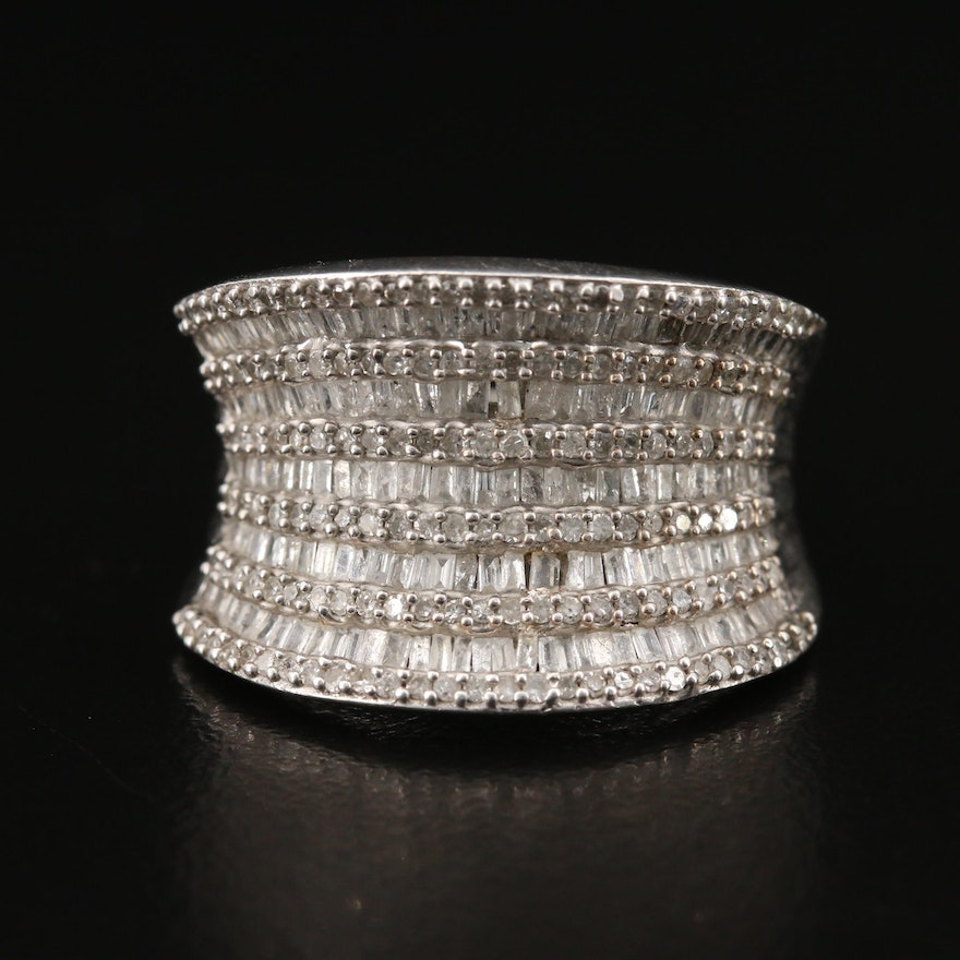 Sterling Silver 1.00 CTW Diamond Concave Ring