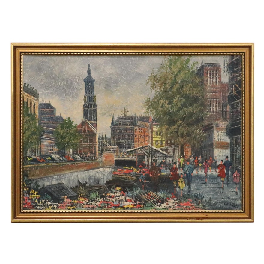 Stylized Cityscape Oil Painting, Mid-Late 20th Century