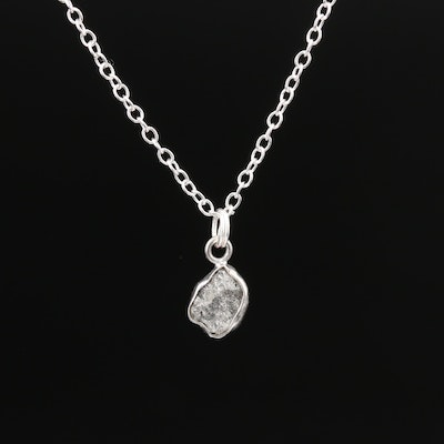 Sterling Silver Freeform Diamond Necklace