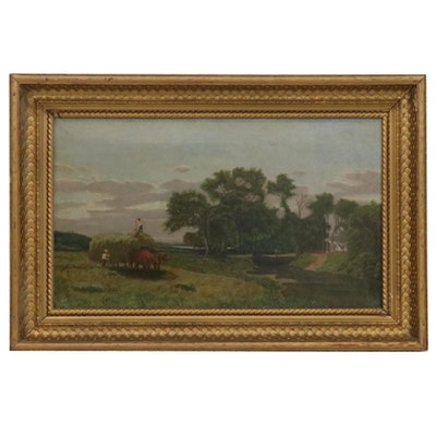 Pastoral Scene Oil Painting with Farmhouse, Early 20th Century