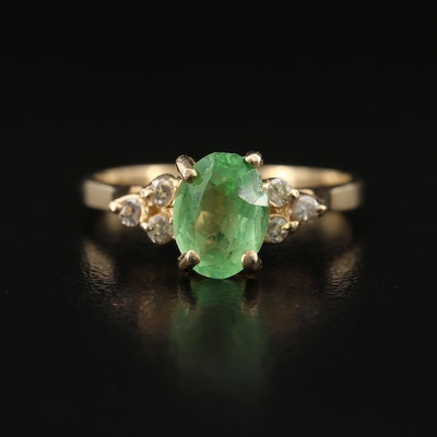 14K Glass and Diamond Ring