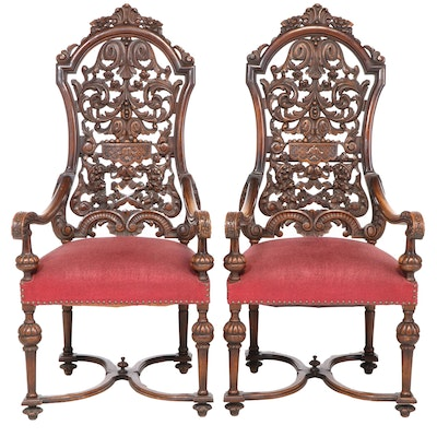 Pair of Baroque Style Carved Walnut Armchairs, Late 19th/Early 20th Century