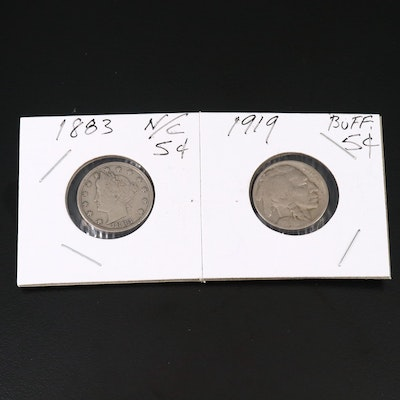 "1883 Liberty ""V"" Nickel and 1919 Buffalo Nickel"