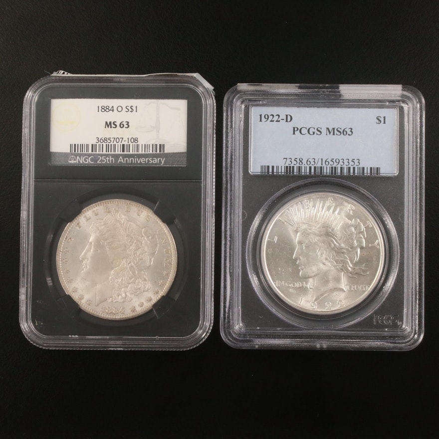 NGC Graded MS63 Morgan Silver Dollar and PCGS Graded MS63 Peace Silver Dollar