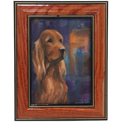 Tricia Smith Acrylic Painting of Irish Setter, 2020