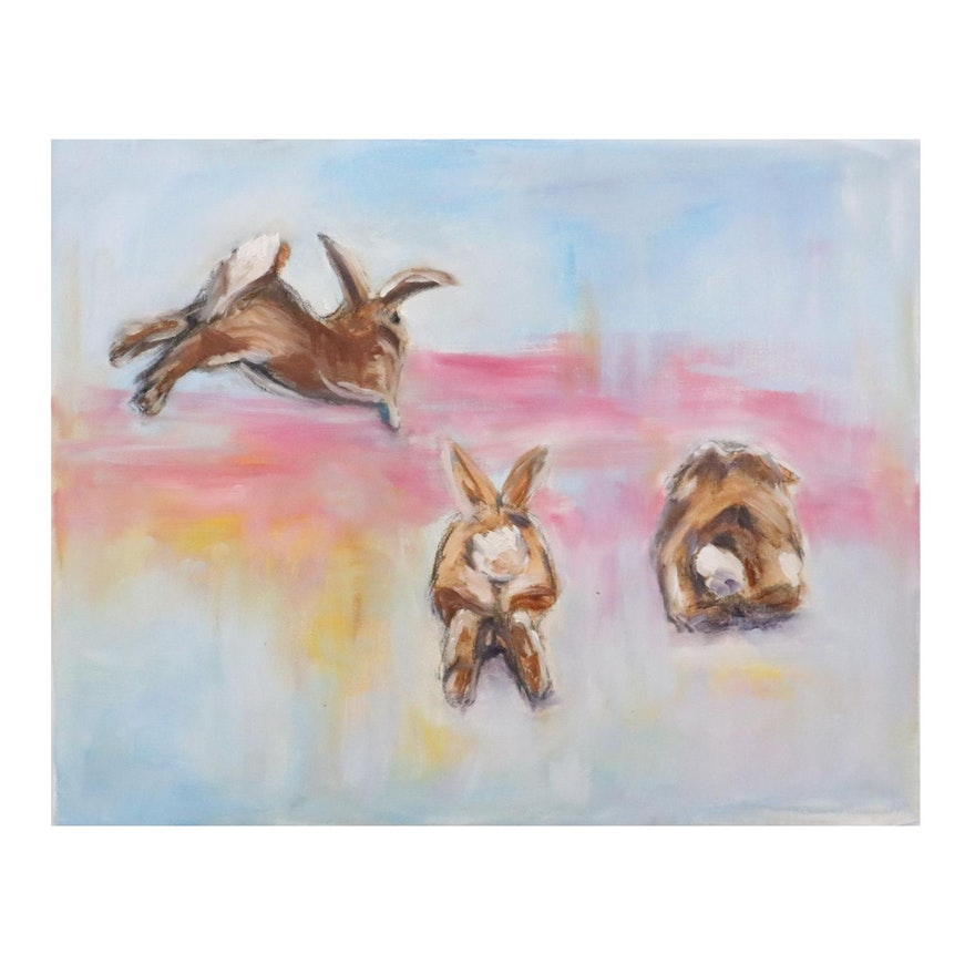 Oil Painting of Rabbits Running, 21st Century