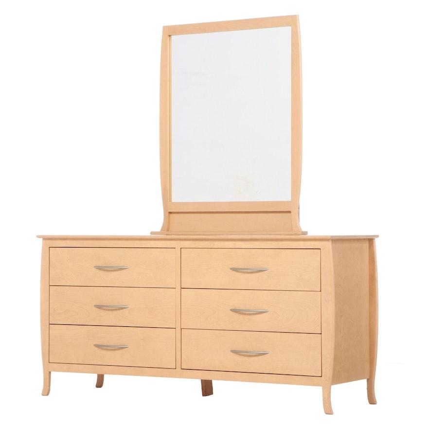 Natural Birch Dresser with Mirror, Late 20th Century