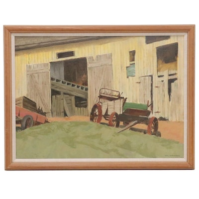 Carl Zimmerman Oil Painting of Barn Door, Mid-Late 20th Century