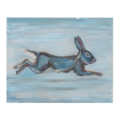 Oil Painting of Blue Rabbit, 21st Century