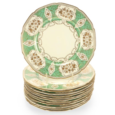 N.S.P. China Green and Gold Dinner Plates, Mid to Late 20th Century