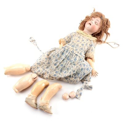 German Bisque Doll With Jointed Arms and Legs, Early 20th Century