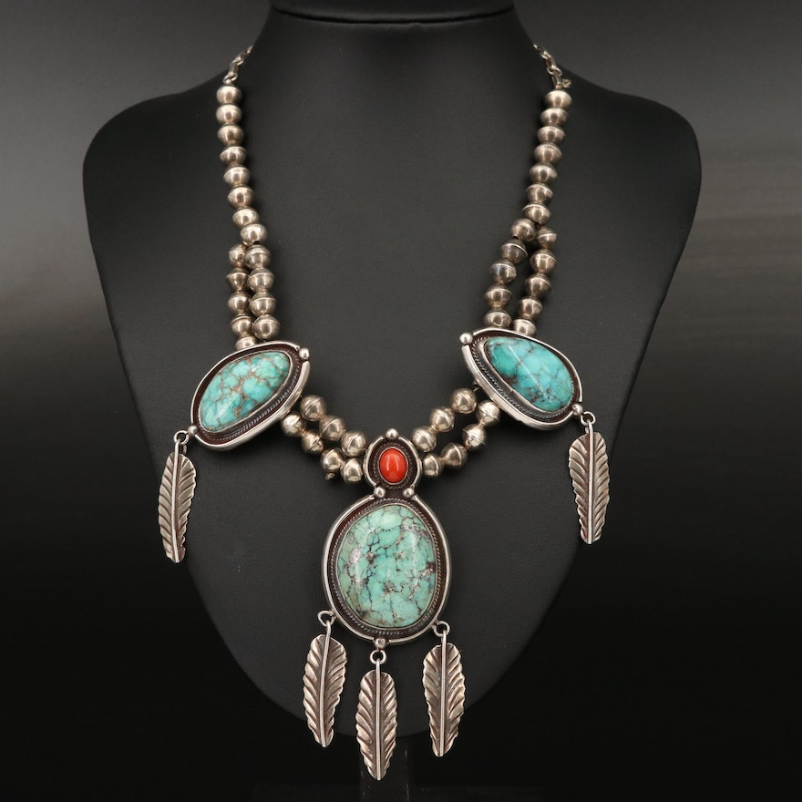 Western Sterling Turquoise and Coral Necklace with Feather Drops
