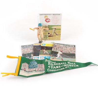 Baseball Memorabilia, Reds Programs, Hall of Fame Pennant, and Doll, Mid-20th C.