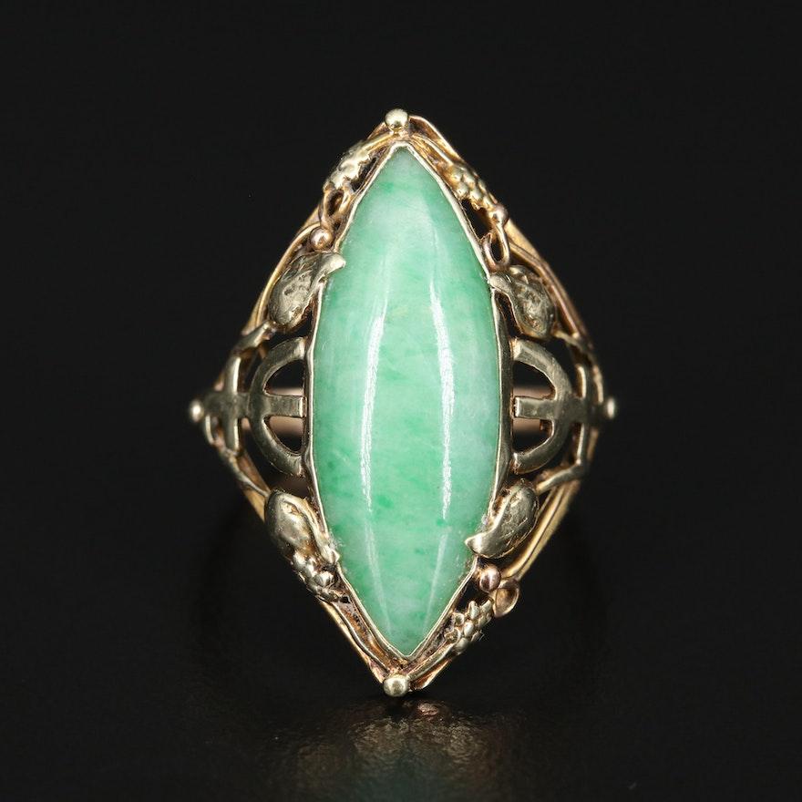 14K Jadeite Navette Ring