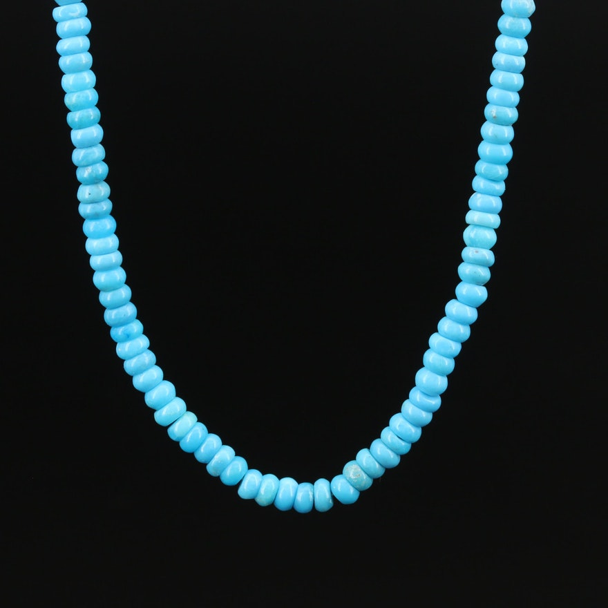 Turquoise Beaded Necklace with 14K Clasp
