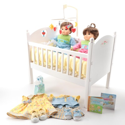 """American Girl """"Bitty Twins"""" Dolls with Crib, Clothing, and Accessories"""
