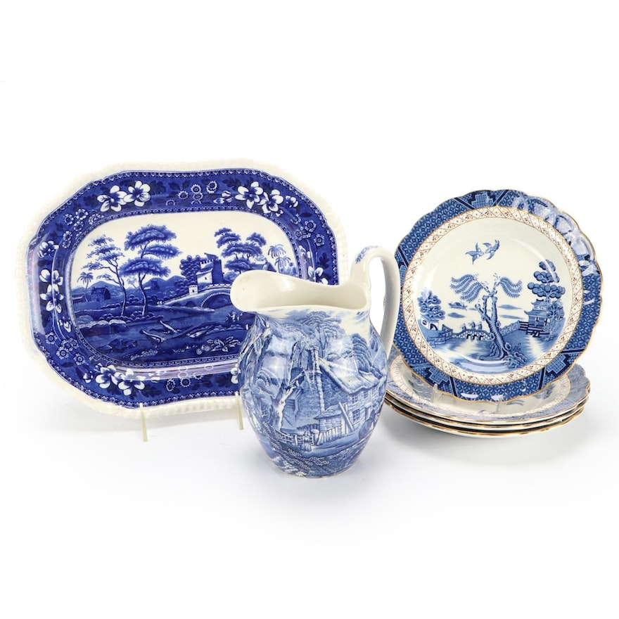 """Booths """"Real Old Willow"""" Soup Bowls and Other Blue and White Tableware"""