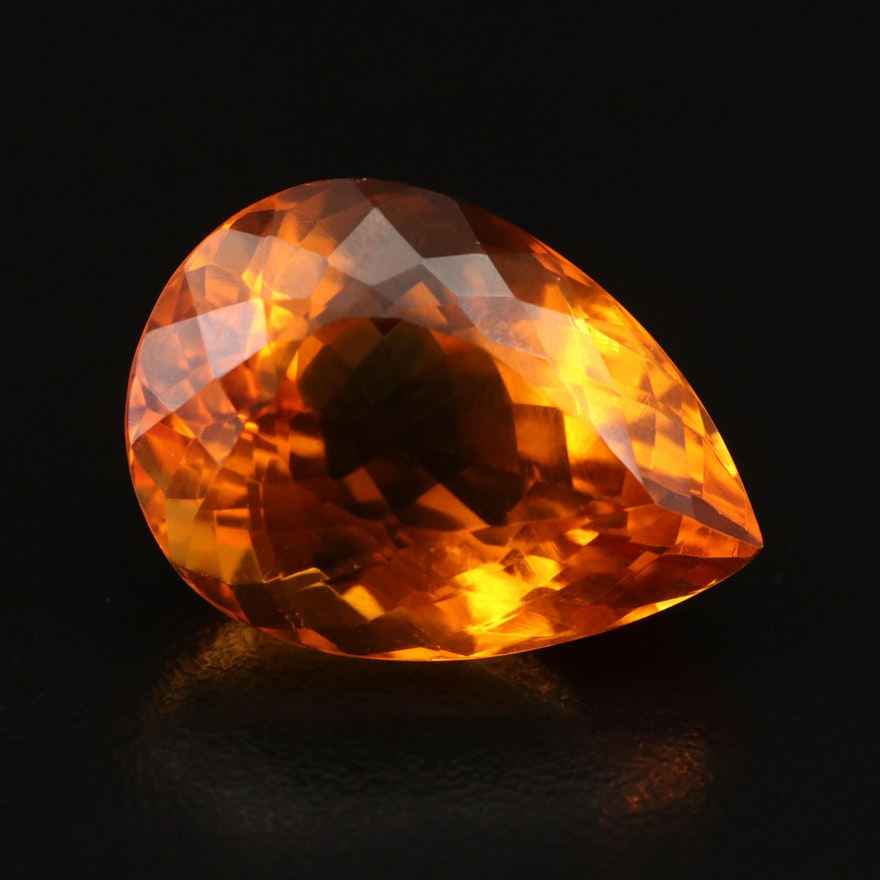 Loose 27.20 CT Pear Faceted Citrine