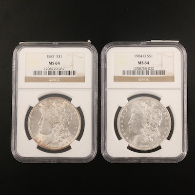 NGC Graded MS64 1887 and 1904-O Morgan Silver Dollars
