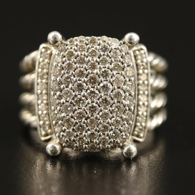 "David Yurman ""Wheaton"" Sterling Silver 1.12 CTW Diamond Ring"