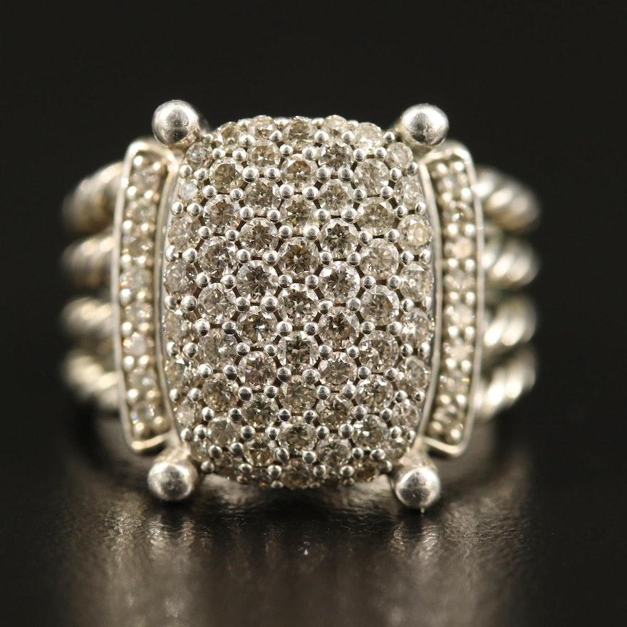 "David Yurman ""Wheaton"" Sterling Silver 1.12 CTW Diamond Ring"