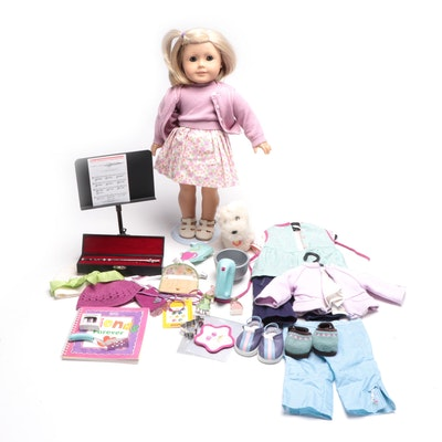 """American Girl """"Kit"""" Doll with """"Coconut"""" Dog Doll, Clothing and Flute Set"""