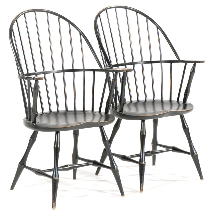 Pair of David T. Smith & Co. Ebonized Windsor Armchairs