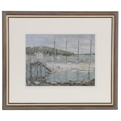 "Emily Camp Offset Lithograph ""Boats in Bar Harbor,"" Late 20th Century"