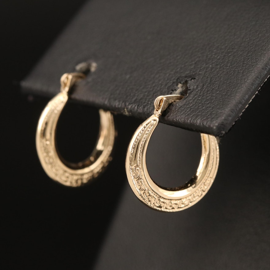 14K Greek Key Hoop Earrings