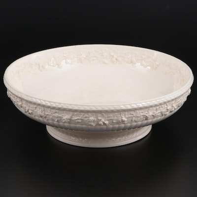 Wedgwood Cream on Cream Embossed Queensware Centerpiece Bowl, Early-Mid 20th C.