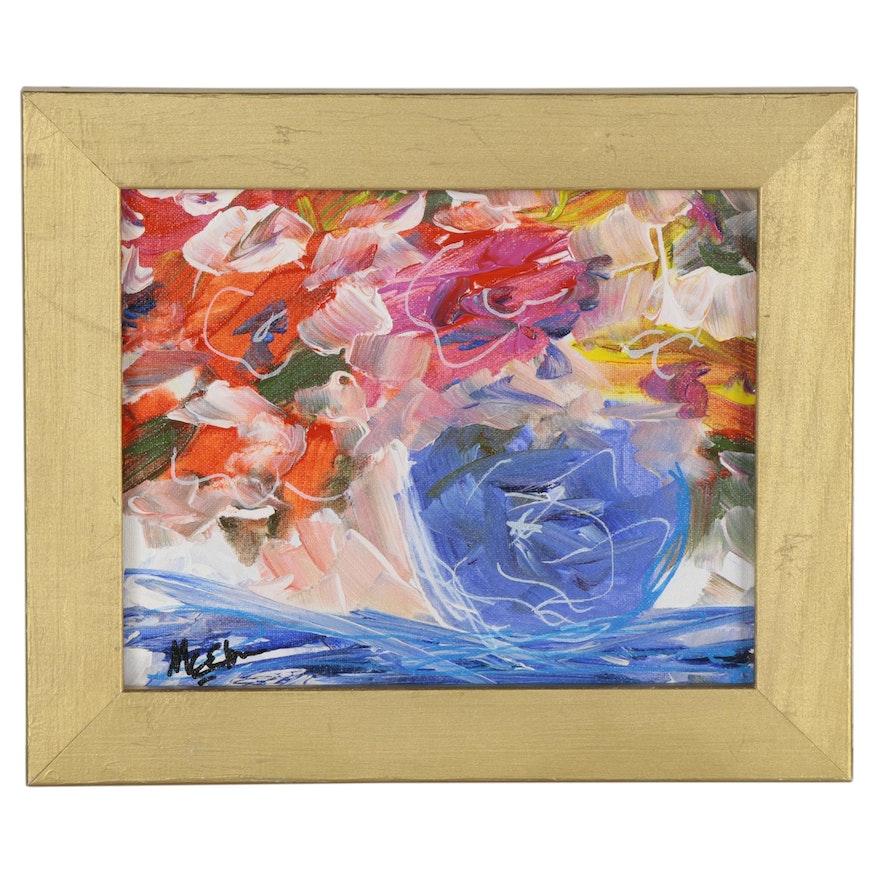 "Claire McElveen Acrylic Painting ""Blue Vase,"" 2020"