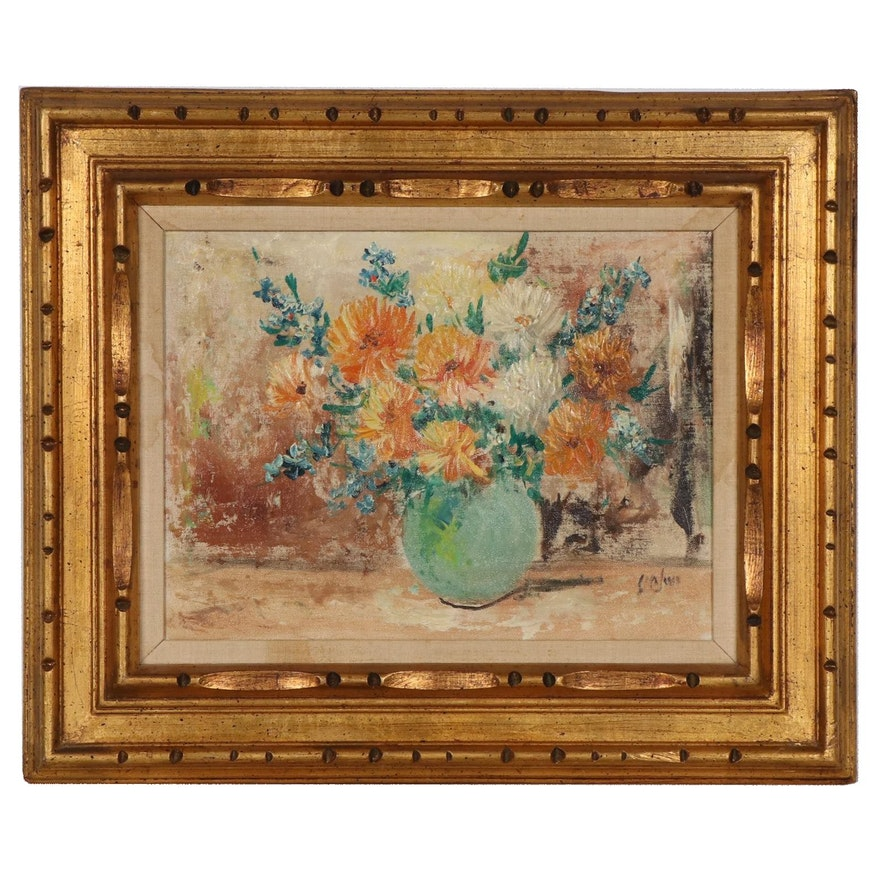 Still Life Oil Painting of Flowers in Vase, Late 20th Century