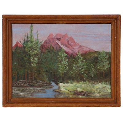 Mountain Landscape Oil Painting, Late 20th Century