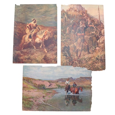 Offset Lithographs from The Chicago Tribune of Outdoor Genre Scenes