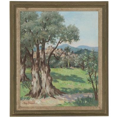 Suzanne Drouet Landscape Oil Painting, Mid-20th Century