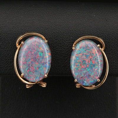 14K Opal Triplet Clip Earrings