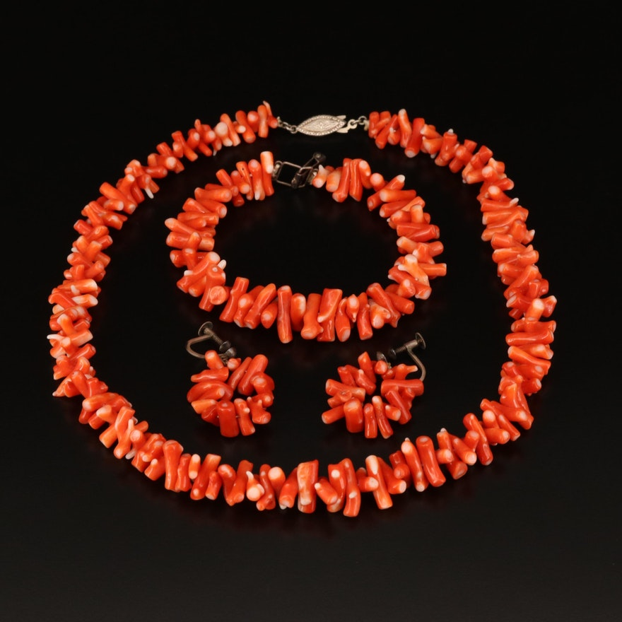 Sterling Coral Necklace, Bracelet and Non-Pierced Earrings and Box