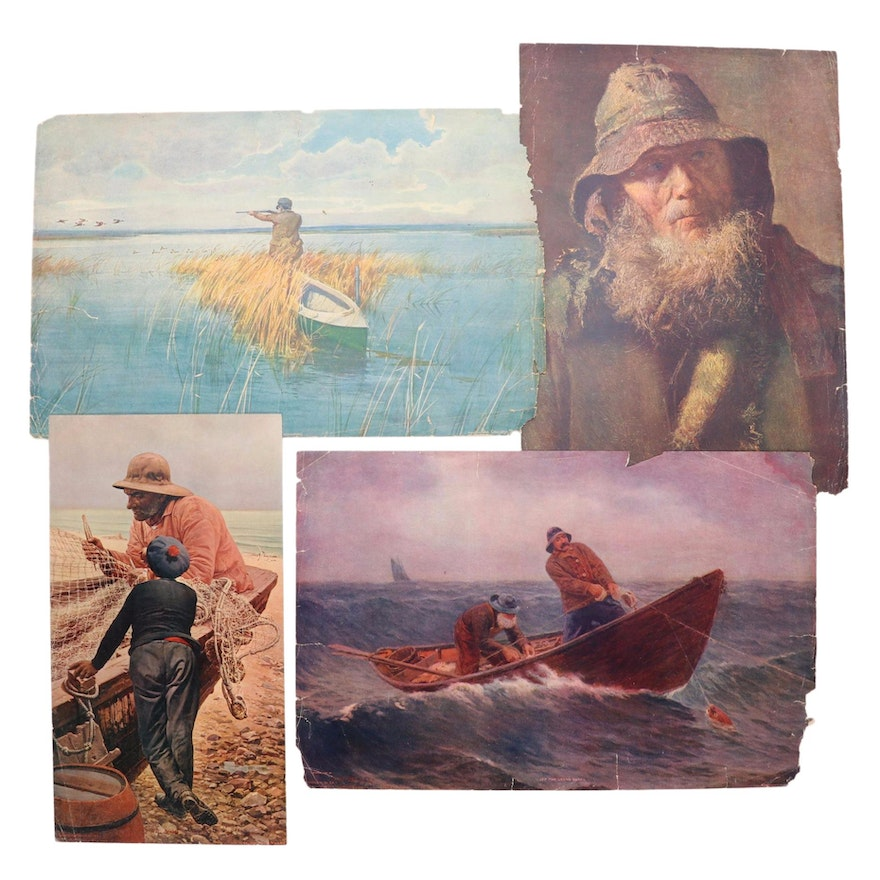 Offset Lithographs from The Chicago Tribune of Fishermen