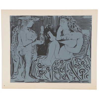 "Pablo Picasso Linoleum Cut ""Two Women,"" 1962"