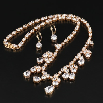Suzanne Somers Collection Sterling Cubic Zirconia Necklace and Earring Set