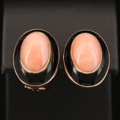14K Coral and Black Onyx Clip Earrings
