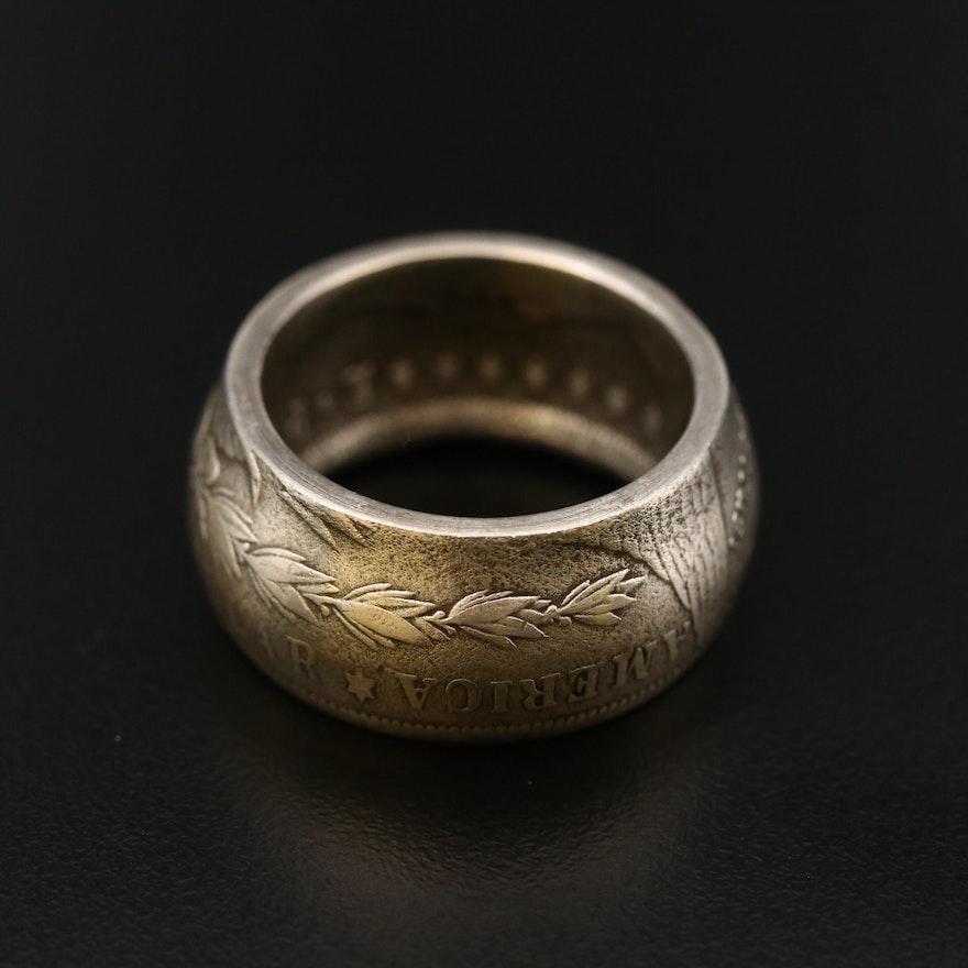 1878 Morgan Silver Dollar Coin Ring, Size 10