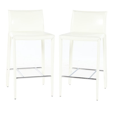 Pair of Modern Bonded Leather Counter Stools