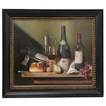Raymond Campbell Still Life Oil Painting of Wine, Late 20th Century