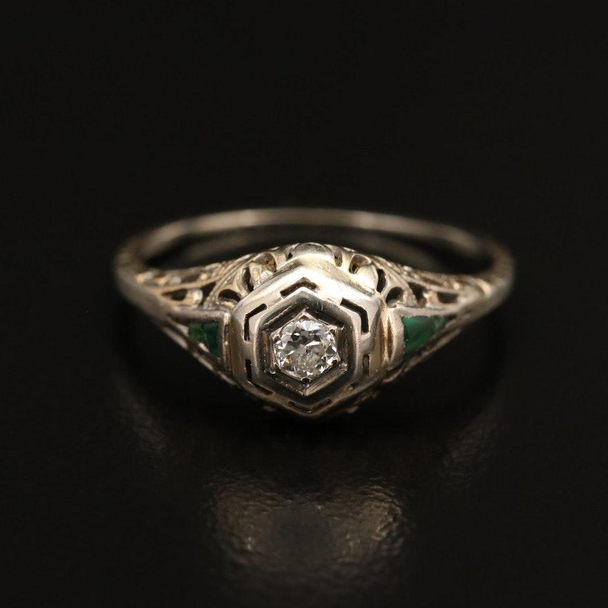 Edwardian 14K Diamond and Glass Ring
