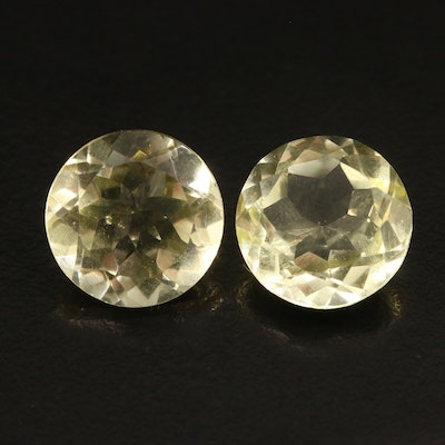 Loose Matching Pair of 14.55 CTW Round Faceted Citrines