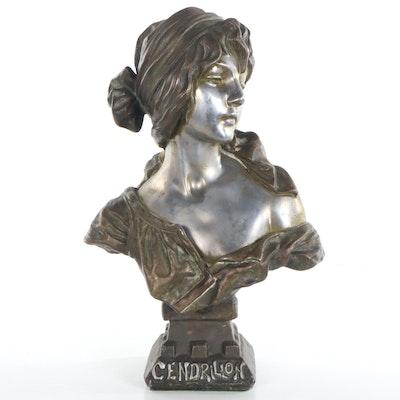"""Patinated Spelter Sculpture after Emmanuel Villanis """"Cendrillon,"""" 20th Century"""